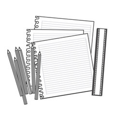 Figure pencils color notebook and rule icon vector