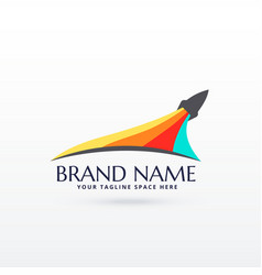 flying rocket logo design with colors stripe vector image