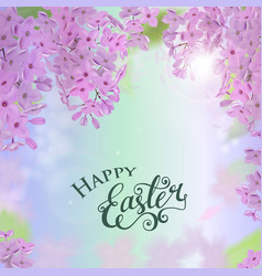 happy easter card with lettering lilac flowers vector image vector image