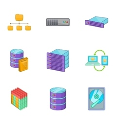 Network server infrastructure icons set vector image