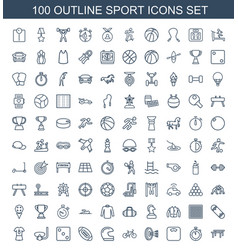 100 sport icons vector