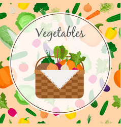 A basket full of fresh vegetables vector