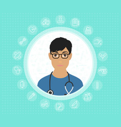 a friendly doctor in glasses and medical gown with vector image