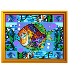A painting multicolored fish with abstract vector