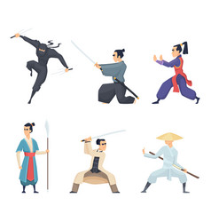 asian fighter man holding katana traditional vector image