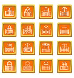 Balcony window icons set orange square vector