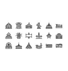 Bangkok symbols and landmarks icon set 2 vector