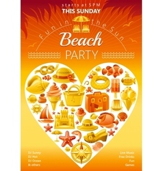 Beach party invitation in yellow color vector