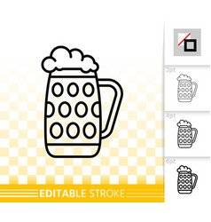 Beer mug simple black line icon bar ware vector