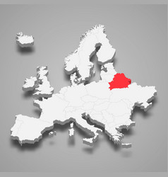 belarus country location within europe 3d map vector image