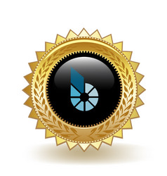 Bitshares cryptocurrency coin gold badge vector