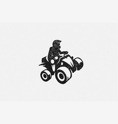 black silhouette person in helmet driving vector image
