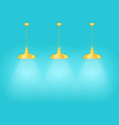 Blue wall interior with yellow vintage lamps vector