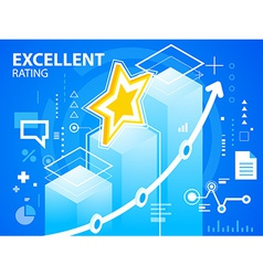 Bright excellent rating of star on blue back vector