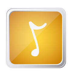 Button of sign eighth note with background yellow vector