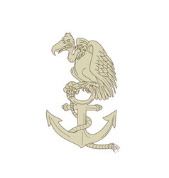 Buzzard perching navy anchor cartoon vector