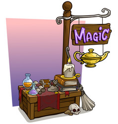 cartoon magic vendor booth market wooden stand vector image