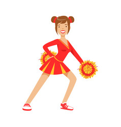 Cheerleader girl teenager dancing with red and vector