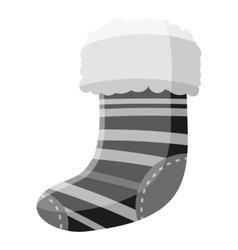 Christmas sock icon gray monochrome style vector