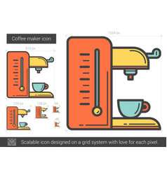Coffee maker line icon vector