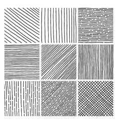 Collection ink hand drawn hatch texture vector