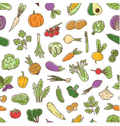 Colorful natural seamless pattern with vegetables vector
