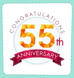 Colorful polygonal anniversary logo 3 055 vector