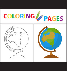 Coloring book page globe sketch outline and vector