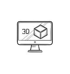 Computer monitor with 3d box hand drawn outline vector