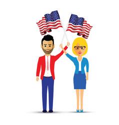 couple waving usa flags vector image