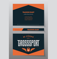 cover of the training diary a4 brochure or flyer vector image