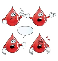 Crying blood drop set vector image vector image