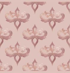 damask pattern rose gold seamless background vector image