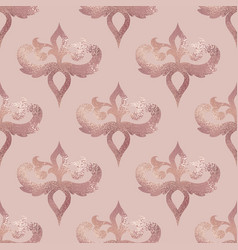 damask pattern rose gold seamless background with vector image