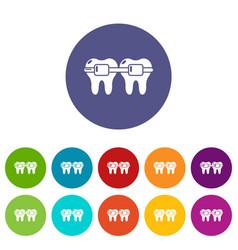 dental brace icons set color vector image