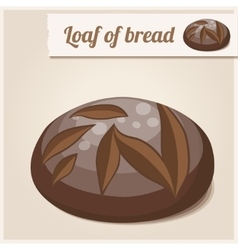 Detailed Icon Loaf of homemade brown bread vector image