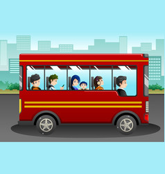 Different people riding a bus vector