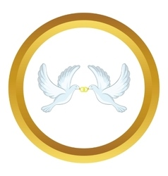 Doves with rings icon vector image
