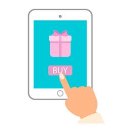 E commerce flat man push buy vector