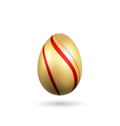Easter egg 3d icon gold red egg isolated white vector