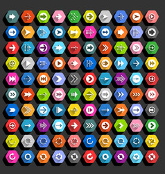 Flat arrow icon hexagon web button vector