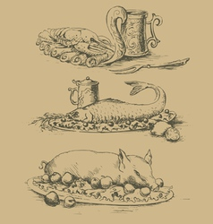 Food pictures for menu vector