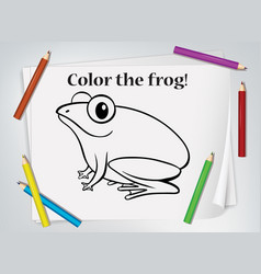 Frog colouring worksheet template vector