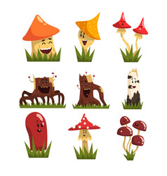 funny mushrooms characters with colorful caps set vector image