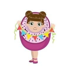 Girl dressed as dragon fruit vector