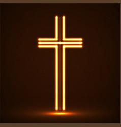 Glowing christian cross religious symbol vector