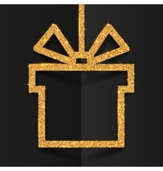 Golden glitter gift box silhouette frame with vector