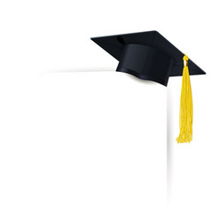 Graduate cap with a yellow tassel and diploma vector