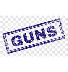 Grunge guns rectangle stamp vector