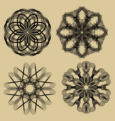 guilloche set black filigree lace patterns on vector image